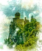 Cesta fortress, San Marino - stock illustration