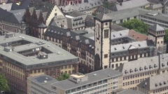 ULTRA HD 4K Aerial view old town Frankfurt landmark heritage house tourism icon Stock Footage