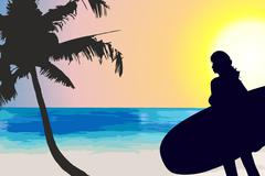 woman silhouette with surfboard - stock illustration