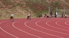 Runners at starting line.Sportswomen run on track. Race, Games, Brazil Stock Footage