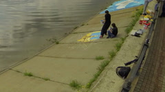 """Group of artists painted """"Award winning"""" in honor of the holiday of Victory Day  Stock Footage"""