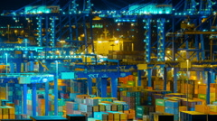trading port ,logistics, crane activity, night timelapse - stock footage