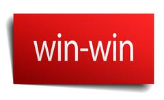 Win-win red square isolated paper sign on white Stock Illustration