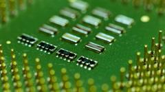 Close up macro computer processor cpu surface rotating flyover Stock Footage