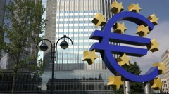 ULTRA HD 4K Euro sign Frankfurt financial center symbol landmark icon eurozone Stock Footage