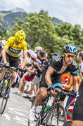 Richie Porte and Chris Froome Climbing Alpe D'Huez - Tour de France 2013 - stock photo