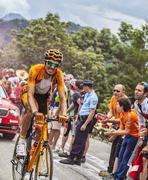 Mikel Astarloza  Climbing Alpe D'Huez - Tour de France 2013 - stock photo