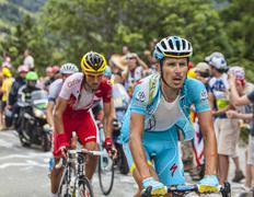 Dimitry Muravyev Climbing Alpe D'Huez - Tour de France 2013 - stock photo
