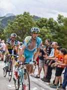 Francesco Gavazzi Climbing Alpe D'Huez -Tour de France 2013 - stock photo
