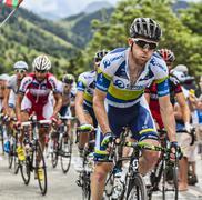 Matthew Harley Goss Climbing Alpe D'Huez - Tour de France 2013 - stock photo