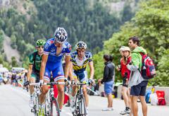 Alexandre Geniez  Climbing Alpe D'Huez - Tour de France 2013 - stock photo