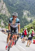 Sylvain Chavanel Climbing Alpe D'Huez - Tour de France 2013 - stock photo