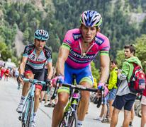 Haimar Zubeldia Climbing Alpe D'Huez - Tour de France 2013 - stock photo