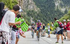 Cyclists Climbing Alpe D'Huez - Tour de France 2013 - stock photo