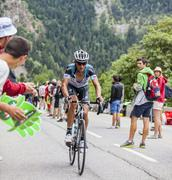 Peter Velits Climbing Alpe D'Huez - Tour de France 2013 - stock photo