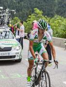 Alexis Vuillermoz Climbing Alpe D'Huez - Tour de France 2013 - stock photo