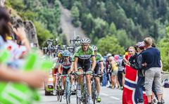 Robert Gesink Climbing Alpe D'Huez - Tour de France 2013 - stock photo