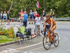 Jon Izagirre Insausti Climbing Alpe D'Huez - Tour de France 2013 - stock photo