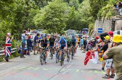 The Peloton on Alpe D'Huez - Tour de France 2013 Stock Photos