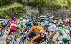 The Peloton on Alpe D'Huez - Tour de France 2013 - stock photo