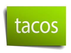 tacos square paper sign isolated on white - stock illustration