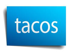 Tacos blue paper sign isolated on white Stock Illustration