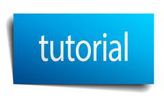 tutorial blue paper sign isolated on white - stock illustration