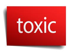Stock Illustration of toxic red paper sign on white background