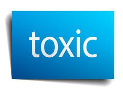 toxic blue paper sign isolated on white - stock illustration