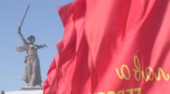 Volgograd, statue mother Russia, snow, Mamayev Kurgan Stock Footage