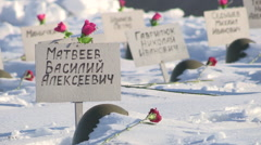 Volgograd German cemetery in Rossoshka Stock Footage