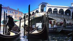 Rialto Bridge gondolas and loud italian - stock footage