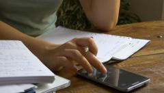 Woman worried about bills stressed sad paperwork 4k debts payments finances Stock Footage