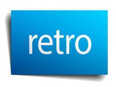 retro blue paper sign on white background - stock illustration