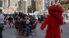 Elmo and Statue of Liberty costumes Times Square Manhattan New York City 4K NYC Stock Footage