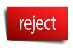 reject red paper sign on white background - stock illustration