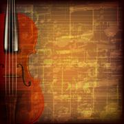 Abstract grunge music background with violin Stock Illustration