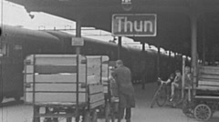 Thun 1953: arriving at the train station Stock Footage