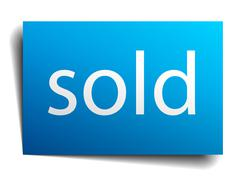 Sold blue paper sign on white background Stock Illustration