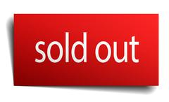 sold out red paper sign isolated on white - stock illustration