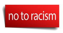 no to racism red square isolated paper sign on white - stock illustration