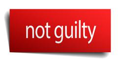 not guilty red square isolated paper sign on white - stock illustration