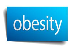 obesity blue paper sign on white background - stock illustration