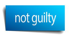 not guilty blue paper sign on white background - stock illustration