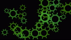 4k rotating green gears wheel systerm,abstract industry background. Stock Footage