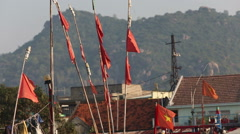Banners flap on fishing  landing-nets in vietnamese city Stock Footage