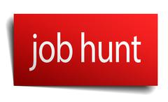 job hunt red square isolated paper sign on white - stock illustration
