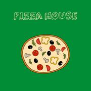 Hand drawn colorful  pizza  with slogan Stock Illustration