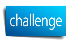 challenge blue paper sign on white background - stock illustration