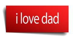 i love dad red square isolated paper sign on white - stock illustration